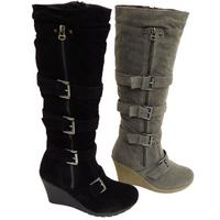 View Item LADIES BLACK OR GREY KNEE HIGH ZIP-UP BUCKLE WEDGE BOOTS SIZES 3-8